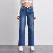 BLUES gerade Jeans mit Stein Waesche und mitteler Taille