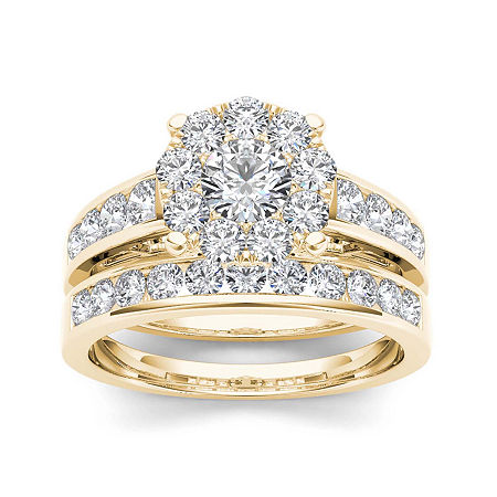 1 1/2 CT. T.W. Diamond 10K Yellow Gold Bridal Set, 6 , No Color Family