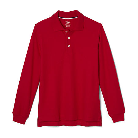 French Toast Big Boys Long Sleeve Polo Shirt, 12 Husky , Red