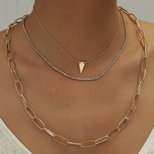 3 piezas collar con diseño geometrico con diamante de imitacion