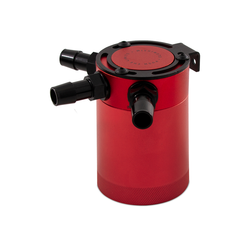 Mishimoto MMBCC-CBTHR-RD Compact Baffled Oil Catch Can (Red | 3 Port)