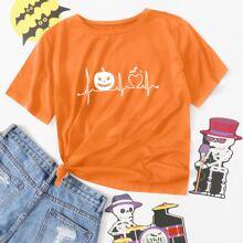 Pumpkin & Heart Print Tee