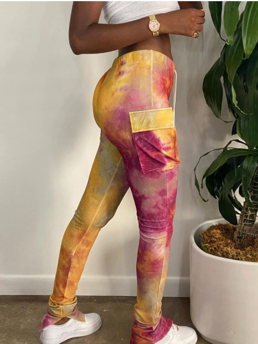 LW Lovely Stylish Tie-dye Pocket Patched Yellow Pants