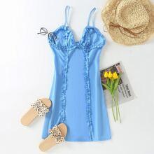 Frill Trim Zipper Back Bustier Cami Dress