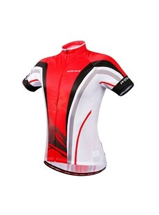 Female Red Stripe Front Full Zipper Short Sleeve Cycling Cloth