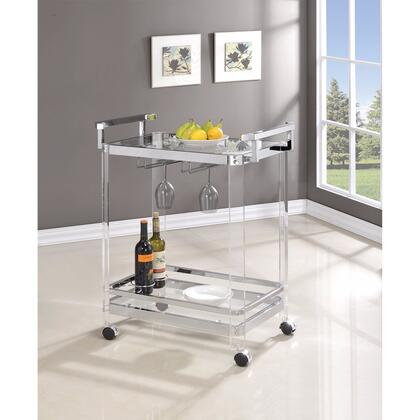 BM160122 Stylish Metal Base Serving Cart With Glass Top