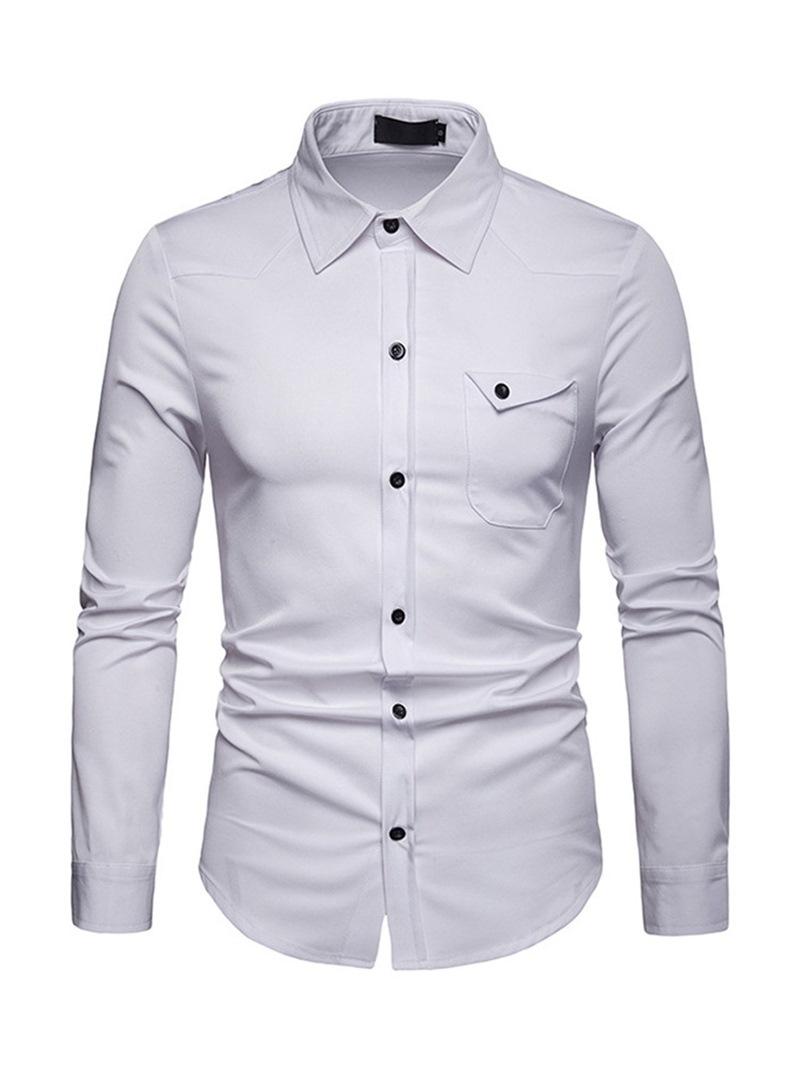 Ericdress Plain Lapel Button Up Slim Mens Shirt