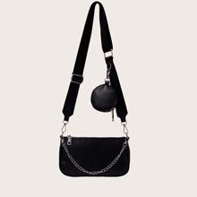 Chain Decor Crossbody Bag With Purse