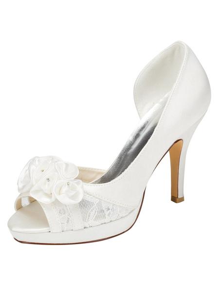 Milanoo Lace Wedding Shoes High Heel Peep Platform Ivory Slip-on Bridal Shoes With Flowers