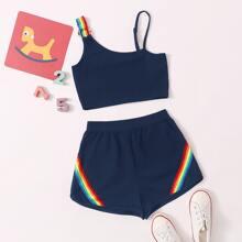 Top mit asymmetrischem Kragen, O-Ring und Riemen & Track Shorts Set mit Regenbogen Muster und Riemen