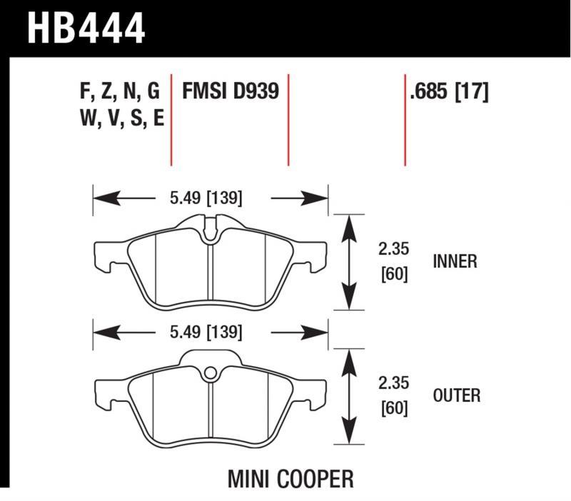 Hawk Performance HB444Z.685 Disc Brake Pad Mini Cooper S Front 2002-2009