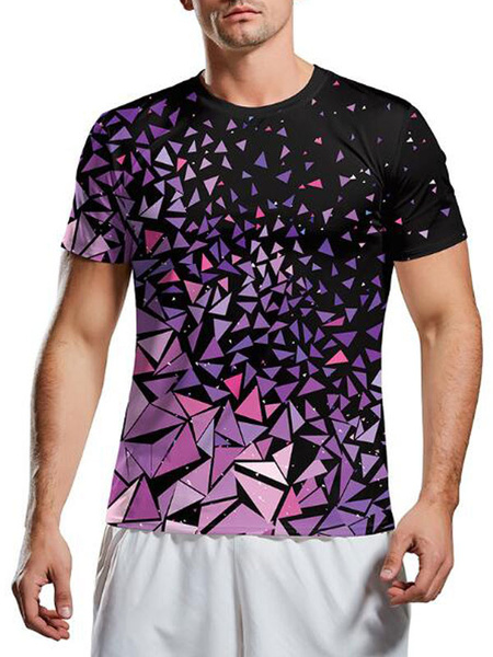 Milanoo Men T-shirts Purple Jewel Neck Short Sleeve Printed Casual T Shirt