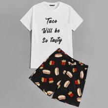 Men Slogan Graphic Top & Shorts PJ Set