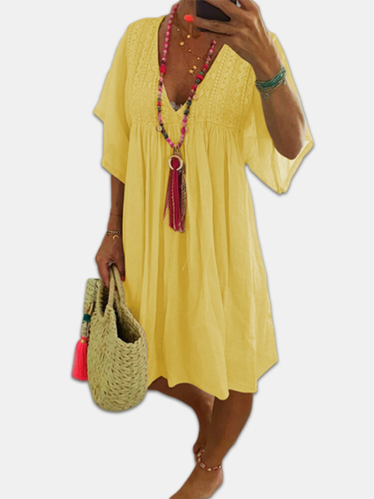 Lace V-neck Flared Sleeve Loose Plus Size Mini Dress