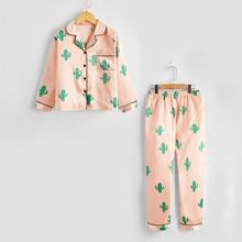 Satin Schlafanzug Set mit Kaktus Muster