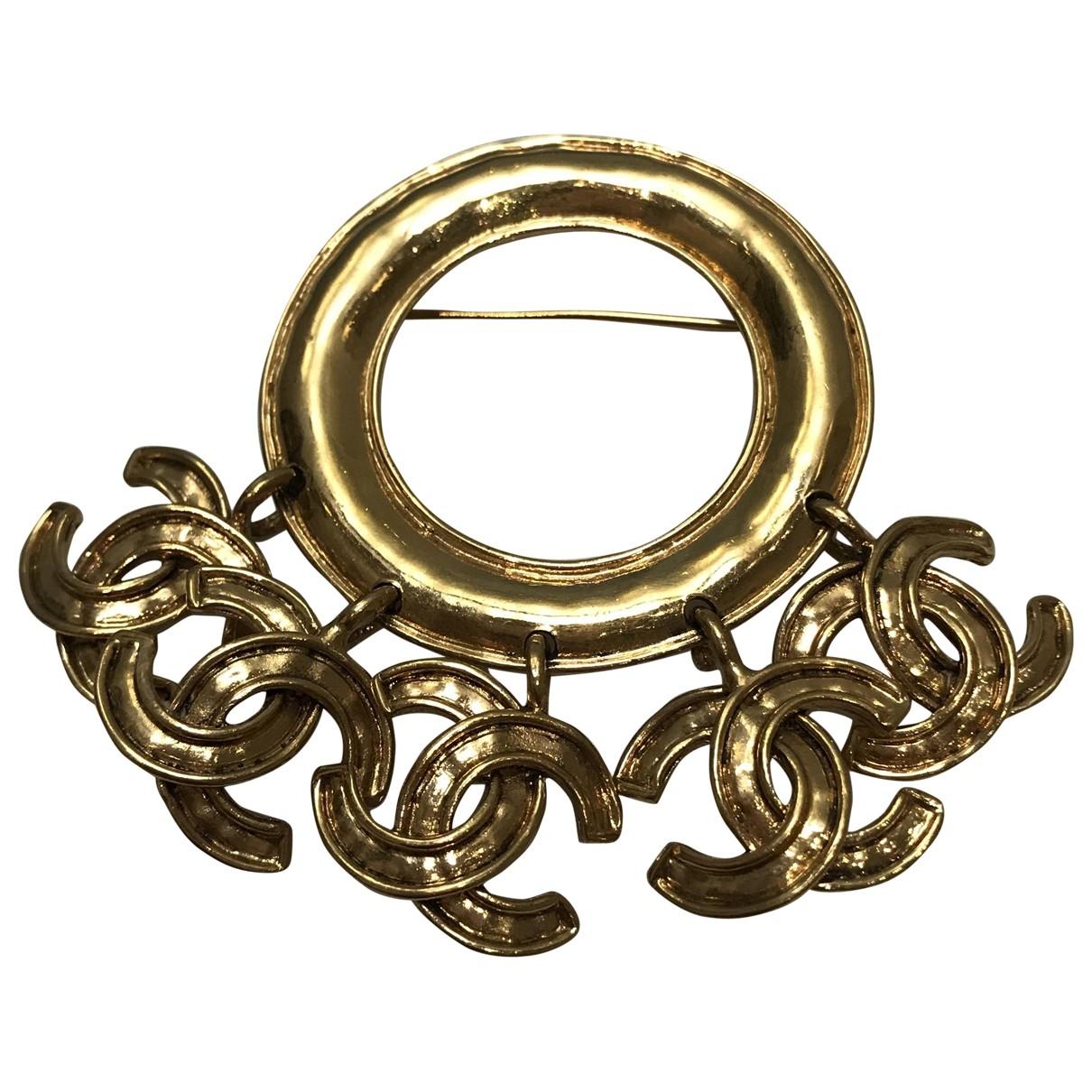 Chanel - Broche CC pour femme en or et acier - dore