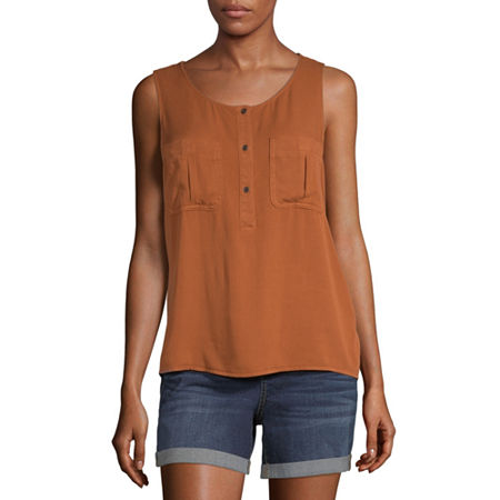 a.n.a Womens Round Neck Sleeveless Tank Top, Large , Brown