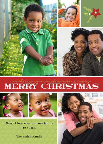 Christmas Photo Cards 5x7 Cards, Premium Cardstock 120lb with Rounded Corners, Card & Stationery -Holiday Bouquet