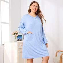 Plus Double Pocket Drop Shoulder Dress