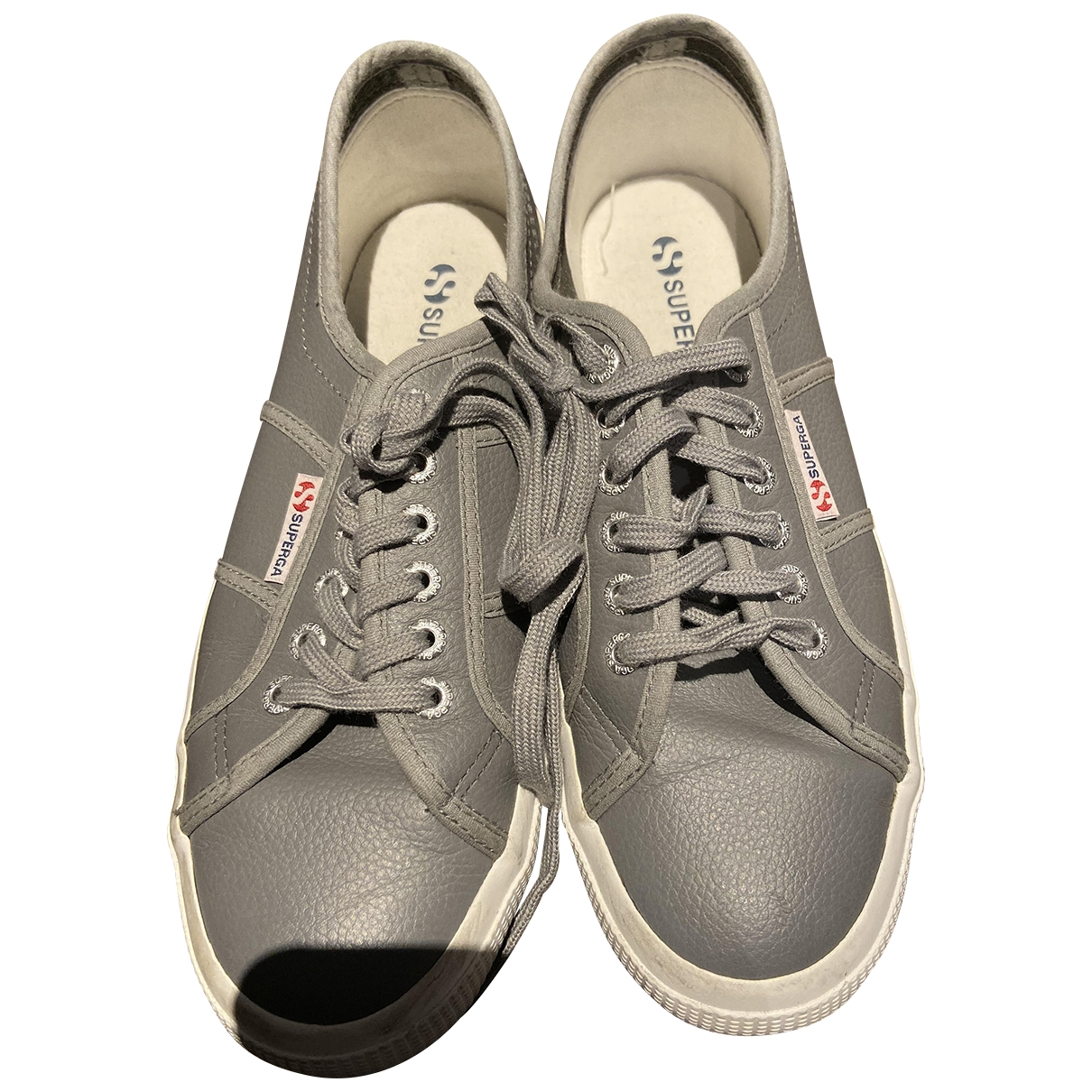 Superga \N Grey Leather Trainers for Women 41.5 EU