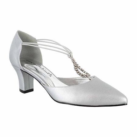 Easy Street Womens Moonlight Pumps Cone Heel, 9 1/2 Wide, Silver