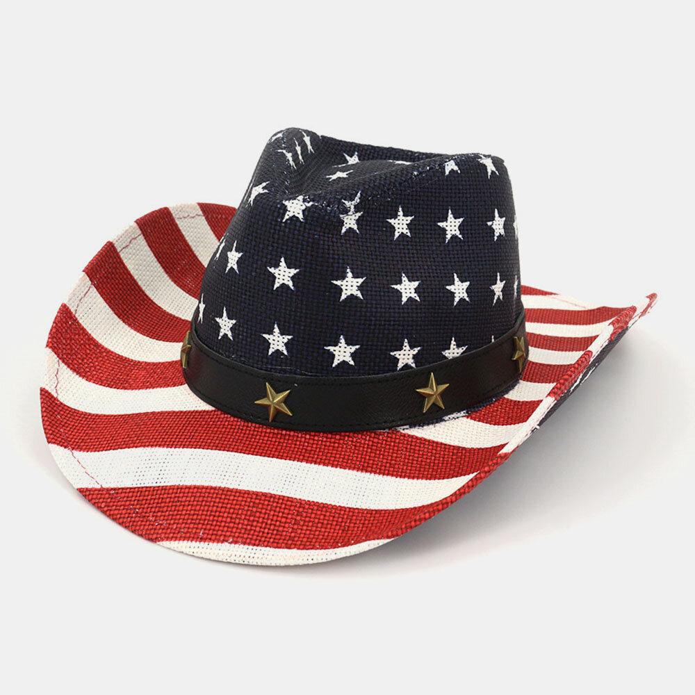 American Flag Retro Western Cowboy Hat Summer Prairie Straw Hat