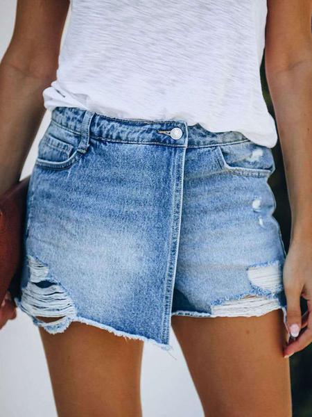 Milanoo Pantalones cortos de mujer Pantalones cortos de mujer con mosca de cremallera de mezclilla cortada informal