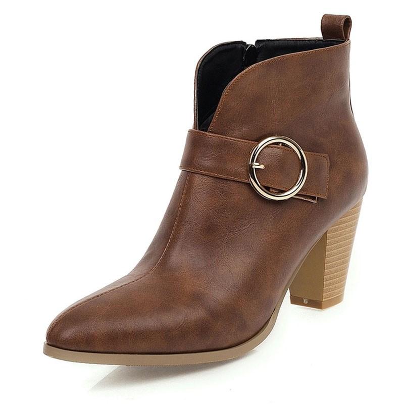 Ericdress Side Zipper Pointed Toe Plain Buckle Women's Ankle Boots