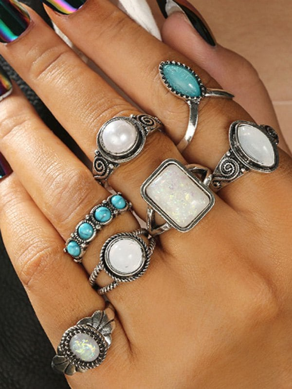 7 Piece Faux Gemstone and Turquoise Finger Rings Set