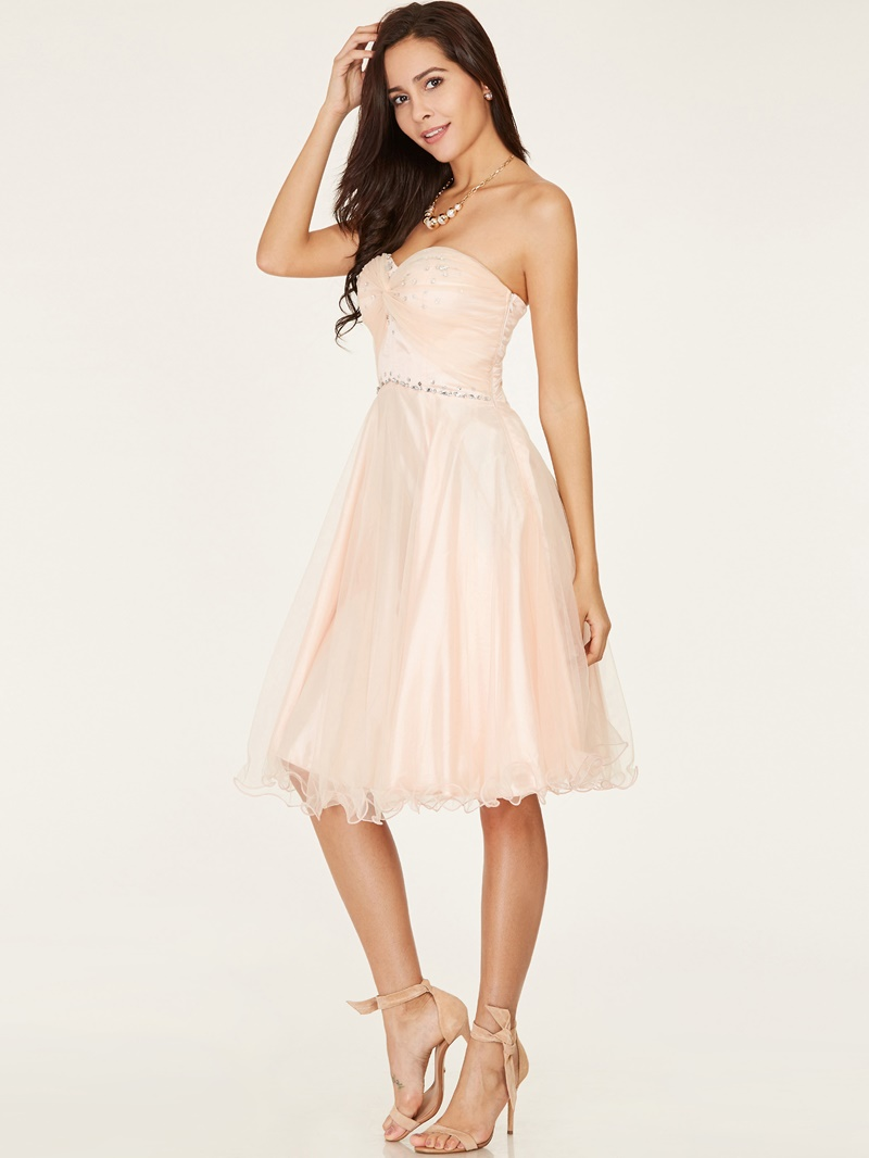 Ericdress Sweetheart A-Line Beaded Lace-Up Knee-Length Homecoming Dress