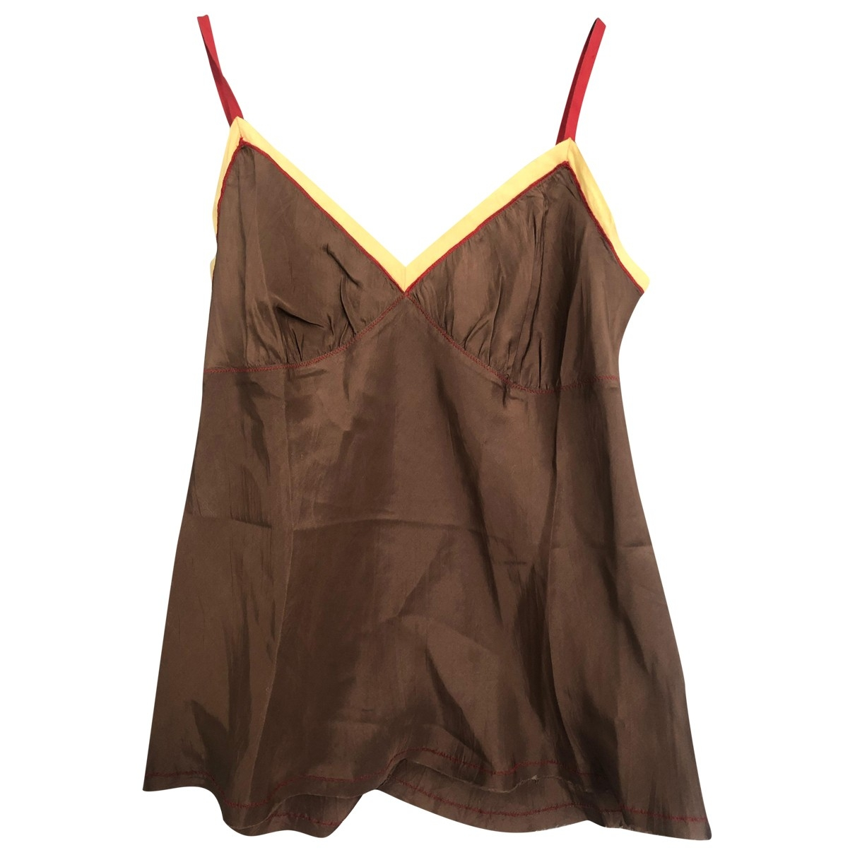 Non Signé / Unsigned \N Brown Silk  top for Women S International