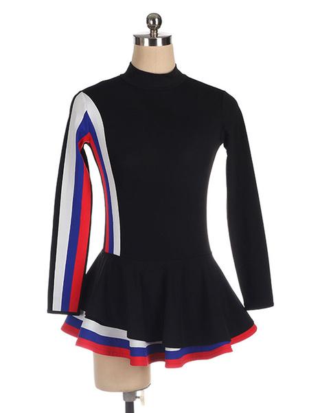 Milanoo Vestido de patinaje Rayas de poliester negro Trajes de baile