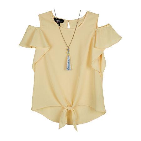 by&by girl Big Girls Crew Neck Short Sleeve Blouse, Medium , Yellow