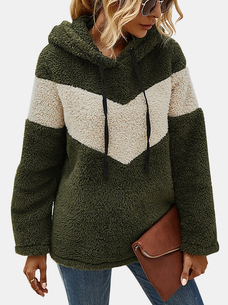 Patchwork Contrast Color Long Sleeve Casual Hoodie For Women