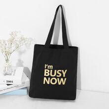 Slogan Print Tote Bag