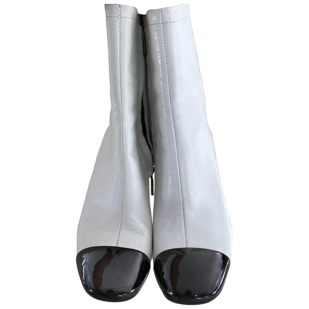 Zara \N White Leather Boots for Women 36 EU