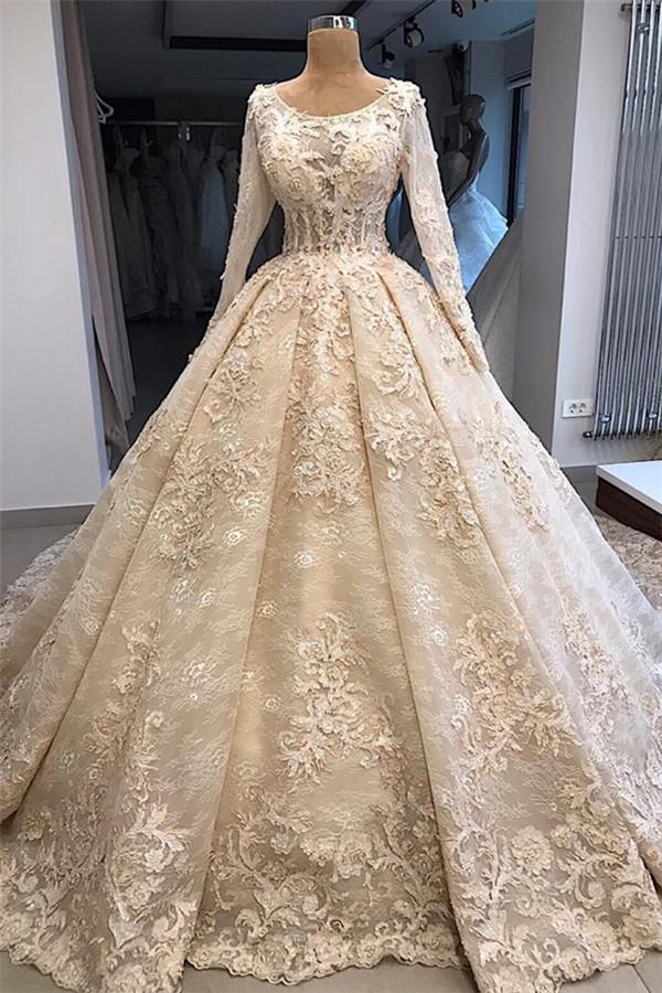 Elegant Scoop Long Sleeves Appliques Ball Gown Wedding Dresses