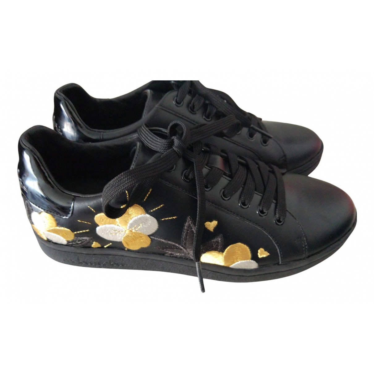 Mellow Yellow N Black Leather Trainers for Women 36 EU