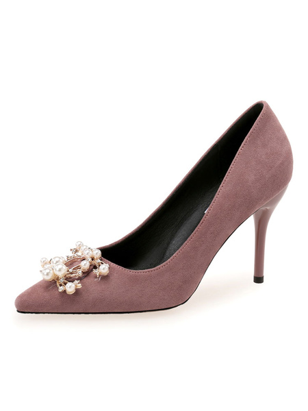 Milanoo Women\'s High Heels Slip-On Pointed Toe Stiletto Heel Pearls Chic Low-Tops Pink Shoes
