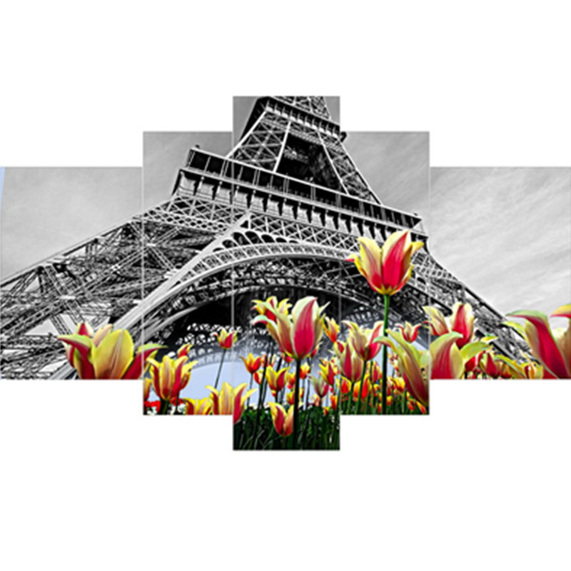 Flowers Surrounding Grey Tower Pattern Hanging 5-Piece Canvas Eco-friendly and Waterproof Non-framed Prints