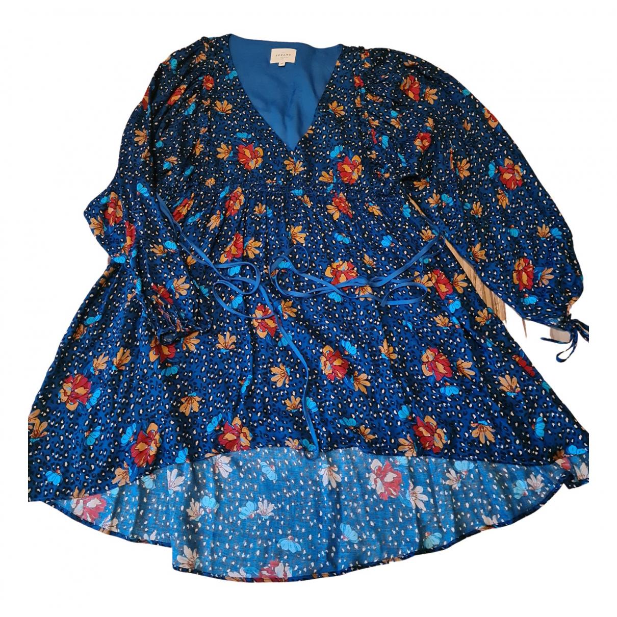 Sezane Spring Summer 2020 Kleid in  Blau Viskose