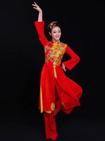 Milanoo Disfraz Halloween Disfraces chinos rojos Borla bordada Festival de primavera Disfraces de vacaciones Carnaval Halloween