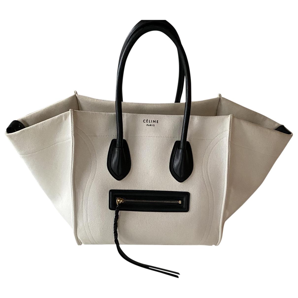 Celine Luggage Phantom Handtasche in  Weiss Leinen