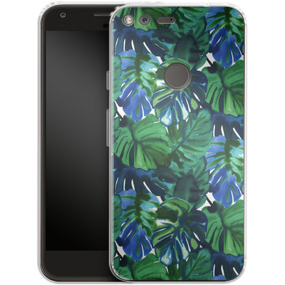 Google Pixel XL Silikon Handyhuelle - Welcome to the Jungle Palm Deep von Amy Sia