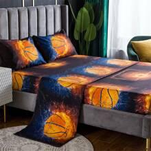 Bettwaesche Set mit Basketball Muster ohne Fuellstoff