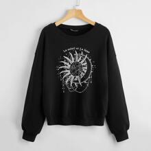 Pullover mit Buchstaben & Sonne Muster und sehr tief angesetzter Schulterpartie