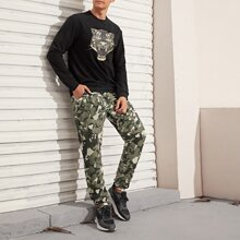 Pullover mit Tiger Muster & Hose mit Camo Muster Set