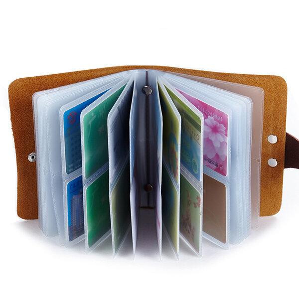 60 Card Slots Card Holder Genuine Leather Big Capacity Wallet For Women Men