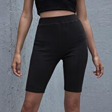 Rib-knit Biker Shorts