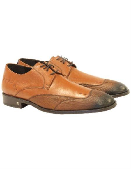 Vestigium Men's Faded Cognac Genuine Sharkskin Derby Shoes